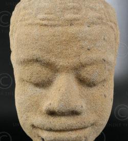 Ancient Khmer head KM83B. Angkor period, Cambodia.