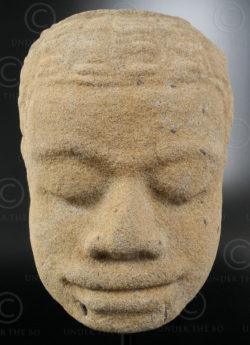 Ancient Khmer head KM83B. Angkor period, Cambodia.