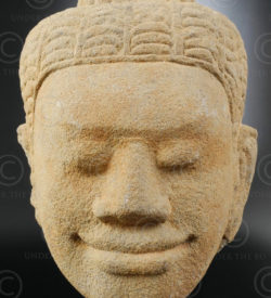 Ancient Khmer head KM83E. Angkor period, Cambodia.