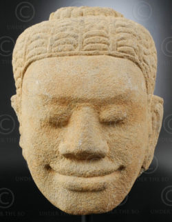 Ancient Khmer head KM83E. Angkor period, Cambodia.