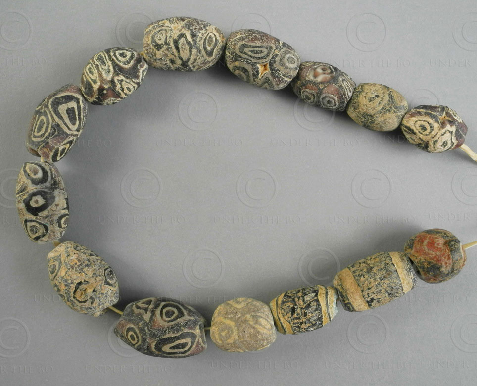 Antique Roman eye glass beads BD281. Sourced in Mali in the early 1980s, West Af