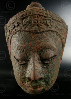 Thai bronze Buddha head T344. Central Siam (Thailand).