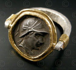 Bactrian coin ring R273. Bactrian period silver drachm of King Eucratides I.