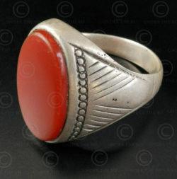 Bague cornaline et argent R280J. Culture d'Asie centrale.