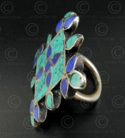 Bague argent mosaïque turquoise lapis R244B. Inde.