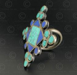 Bague argent mosaïque turquoise lapis R244E. Inde.