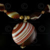Necklace with red banded agates 594