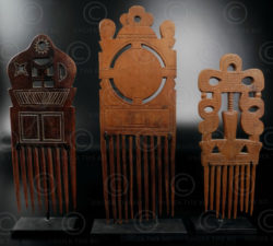 Baule combs 12UZ1A. Baule culture, Ivory Coast, West Africa.
