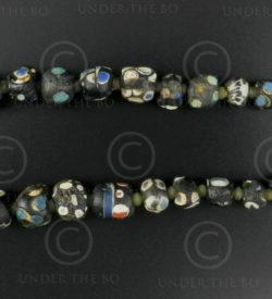 Black Gabri glass beads 13SH44B. Afghanistan.