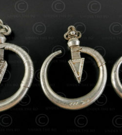 Boucles oreilles Yao argent E166. Minorité Mien Yao, Chine du Sud, Laos ou Thaïl