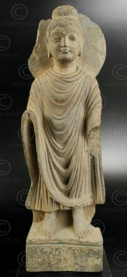 Bouddha debout Gandhara PK192. Ancien royaume de Gandhara (Pakistan).