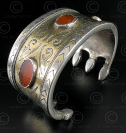 Bracelet argent turkmène B208. Culture turkmène tekkè, Asie centrale.