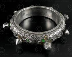 Bracelet argent turkmène B212. Culture turkmène, Asie centrale.