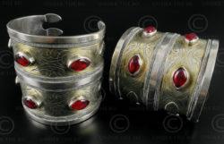 Bracelets argent turkmènes B206. Culture turkmène tekkè, Asie centrale.