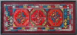Broderie turkmene encadrée KO73B. Culture turkmène, Afghanistan.