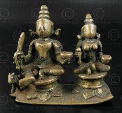 Khandobha and Mahalasa bronze 16P19. Mahrashtra state, Southern India.