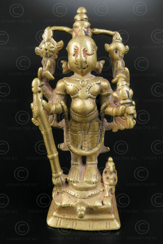 Bronze standing Vishnu statuette 16P27. Bombay area, Maharashtra state, Southern India.