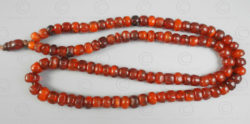 Burmite red amber prayer beads BD229. India, amber originally from northern Burm
