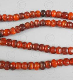 Burmite red amber prayer beads BD229. India, amber originally from northern Burm