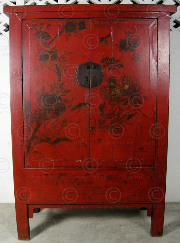 Chinese Cupboard Bj41 Red Lacquered Elmwood Shanxi China