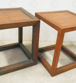 Chinese stool FVS13. Teakwood and split bamboo. Under the Bo workshop