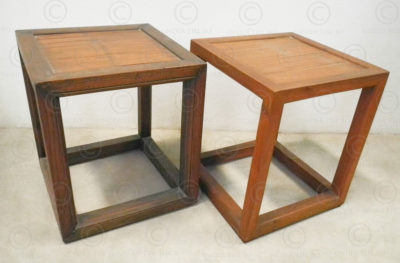 Chinese stool FVS13. Teakwood and split bamboo. Under the Bo workshop