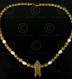 Collier avec jade tibétain, or et perles No.572,