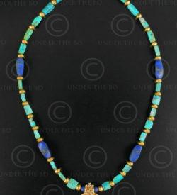 Collier or et turquoise 635. Design François Villaret.
