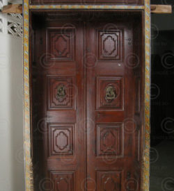 Colonial door H23-02 Partly painted teakwood. 19th century. South India