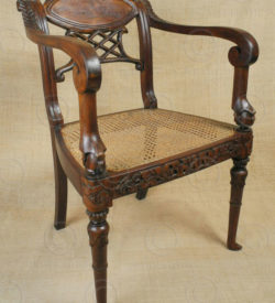 Colonial armchairs FVC1. Indo-Dutch colonial style. Teak wood and rattan.