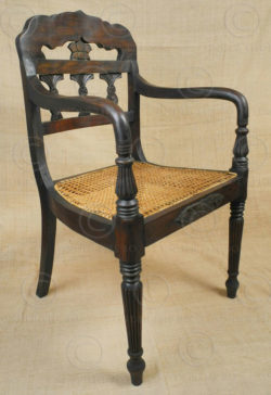 Colonial armchairs FVC3B. Colonial style. Teakwood, rattan.