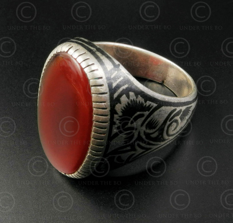 Cornelian and nielo silver ring R288C. Bukhara style, Central Asian and Afghan c