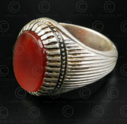 Cornelian and silver ring R288N. Central Asia and Afghan culture.