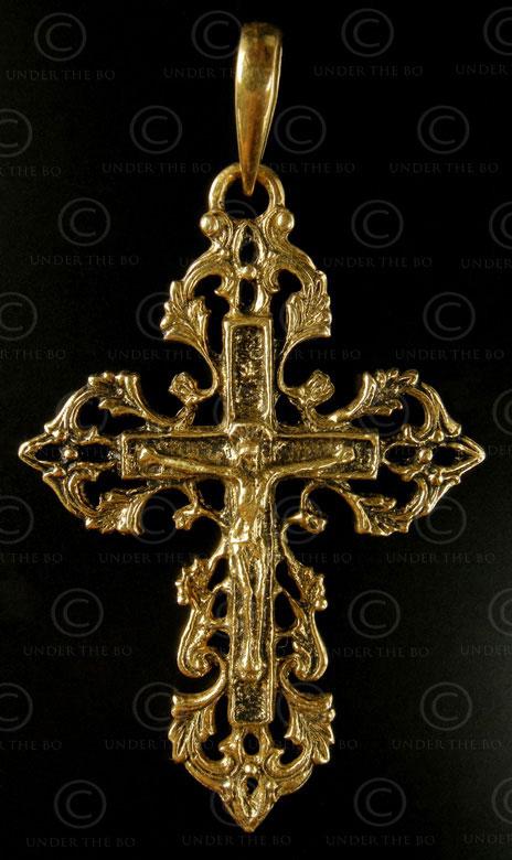 Croix chrétienne or P167. Inde.