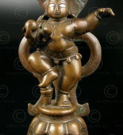 Dancing Gopal A158. Bronze, with silver eyes. Maharashtra, India