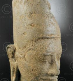 Early Khmer stone head KM92. Khmer style, Cambodia.