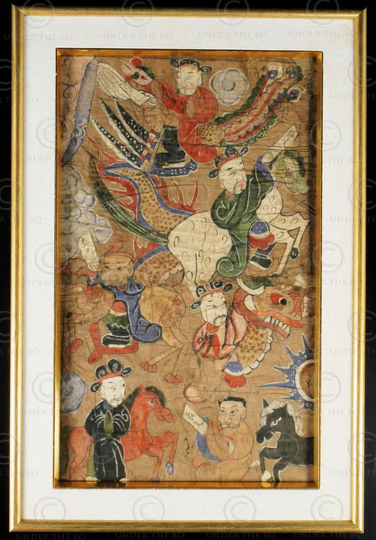 Framed Lantien Yao painting YA134B. Lantien Yao minority, Southern China or Laos