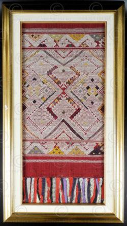 Framed Lao scarf LA22. Sam Neua province, northern Laos.