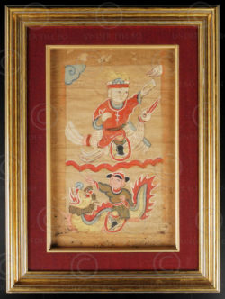 Framed Yao painting YA67. Lantien Yao minority, Southern China or Laos.