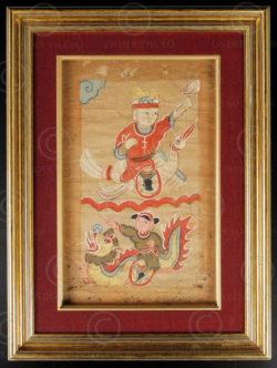 Framed Yao painting YA67. Lantien Yao minority, Southern China or Laos.