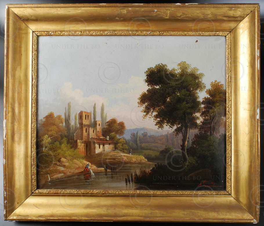 French painting FR9A. Signed Alexandre. French school.