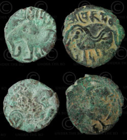 Shahi bronze coins C71-72. Hindu Shahi kings of Kabul and Gandhara, Afghanistan.