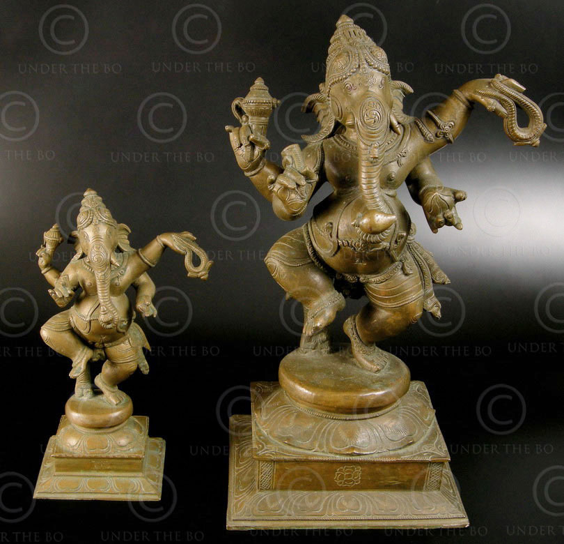 Ganesh dansant bronze 09KB3B. Période des Cholas. Tamil Nadu, Inde du sud.