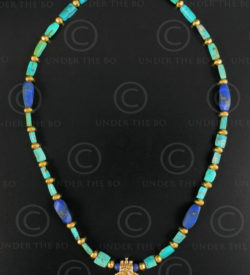 Gold and turquoise necklace 635. Designed by François Villaret.