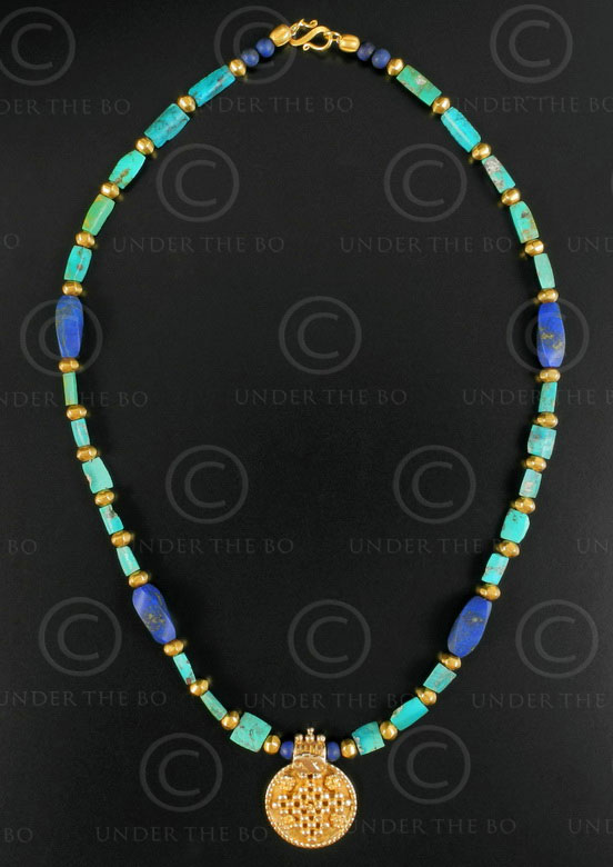 Gold and turquoise necklace 635. Designed by François Villaret.