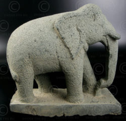 Green granite elephant 09MM4. Tamil Nadu, southern India.