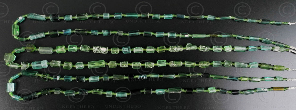Green tourmanline beads 13SH8. North-Eastern Afghanistan.