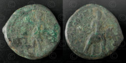 Kushan bronze coin C131. Kushan Empire.