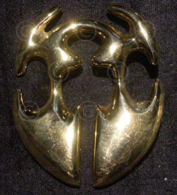 Solid brass belt buckle FB8a. traditional Igorot earring, The Philippines.
