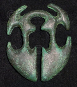 Solid bronze belt buckle FB8b.  Igorot earring, Northern Luzon